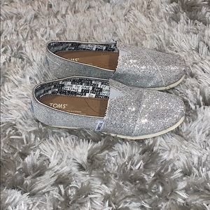 Silver sequined Toms Youth 4, or women's 6. EUC